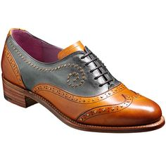 Barker Ladies Shoes – Laura Brogue – Cedar & Blue Calf. A distinctive wingtip brogue with unique studded detail throughout on an elegant Cuban heel.