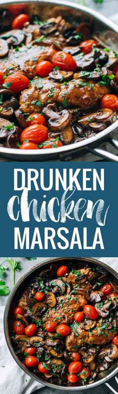 Chicken Marsala with Tomatoes Drunken Chicken Marsala with Tomatoes - simple, gorgeously vibrant, and full of rich flavor.Drunken Chicken Marsala with Tomatoes - simple, gorgeously vibrant, and full of rich flavor. Turkey Recipes, Dinner Recipes, Drunken Chicken, Fried Chicken, Creamy Chicken, Healthy Chicken, Frango Chicken, Eat This, Chicken Marsala