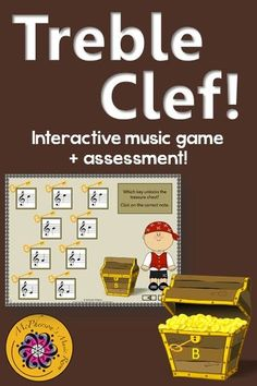 Reading notes on the Treble Clef staff is so easy for your elementary music students with this fun interactive music game! Great activity to add to your Orff or Kodaly lesson plan! #musicgames #elementarymusic