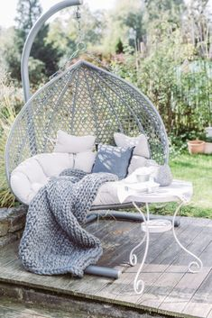 Hammock chair in the autumn garden
