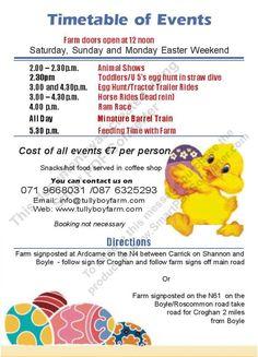 Easter 2013 timetable Barrel Train, Farm Door, Easter 2013, Easter Weekend, Race Day, Egg Hunt, Family Activities