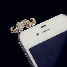 Sweet Rhinestoned Moustache Shape Cellphone Dustproof Plug For Women