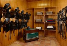 Saddles and Tack in the tack room. I'd love to find a tack room that stayed this clean and organized longer than an hour.