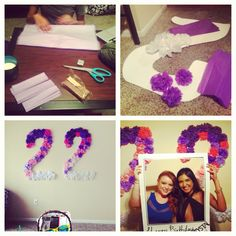 A big ombré 22 decoration for my friends 22nd birthday out of tissue paper and poster board :)