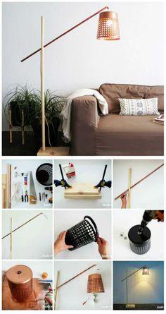 Une lampe de plancher moderne avec une corbeille à papier comme abat-jour