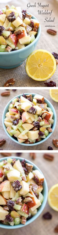 This spin on the classic Waldorf Salad uses Greek yogurt, lemon juice, and a couple other additional ingredients to give it a fresh new flavor. | www.alattefood.com/