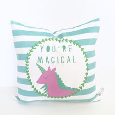This sweet-as-can-be accent pillow is the perfect addition to your little ones bedroom! Add a bit of magic to any room you choose with this handmade pillow.  This adorable pillow cover features a unicorn and text reading You Are Magical. Its soft colors and simple design is hard to resist. Zipper centered on bottom for easy insert removal and wash!  This cover is 17 x 17 inches & printed on cuddle suede - a cozy suede that is 100% machine washable - making it kid-friendly & parent-approved…