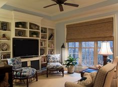Large shade adds wooden hues to the family room - Best Home Design Inspiration .com