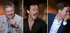 Foot shocked! Martin Freeman, Luke Evans, and Benedict Cumberbatch react to one castmate's feet-- that is adorable!