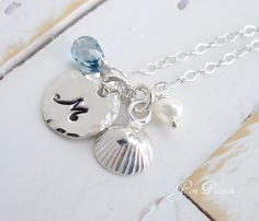 Sterling Silver Seashell Charm Hand Stamped by GemPassionJewelry, $39.00