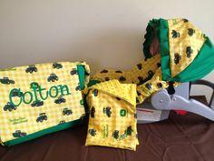 3 pc Gift set John Deere fabric diaper Bag by LIZSSTITCHESdotCOM, $105.00