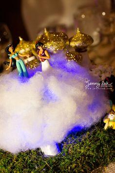 Disney theme wedding fairy tale wedding centerpieces Floral Sculpture - centerpiece make by sculptured floral foam, and assemble flower on top. Aladdin Birthday Party, Aladdin Party, Aladdin Wedding, Wedding Disney, Disney Weddings, Geek Wedding, Fairy Tale Theme, Fairy Tales, Disney Wedding Centerpieces