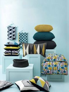 Ferm Living, Danish furniture company. Luv the color combo, yellows, teals and geometric