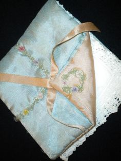 Vintage Hanky Holder in Blue & Peach with Lovely Ribbon Work Accents.  via Etsy.