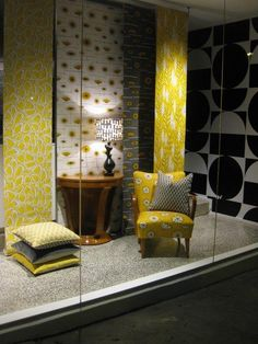 Miss Print window installation at Ascraft Textiles + Wallcoverings