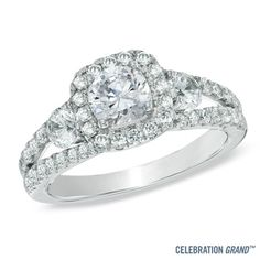 Celebration Grand™ 1-5/8 CT. T.W. Certified Diamond Three Stone Engagement Ring in 14K White Gold (I/I1) - Zales