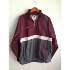 Mint Vintage Adidas Windbreaker, Anorak, Pullover, Maroon With Gray,... ($25) ❤ liked on Polyvore featuring activewear, activewear jackets, grey pullover, maroon pullover, adidas activewear, adidas sportswear and gray pullover