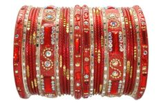 Beautiful Red and Gold Indian Bangles Designs Ethnic Bollywood Costume Bracelet Set Product Code :Indian Bangles Set 34 The Bangles Set Contains 26 individual Bangles Colors & Design: (As Per Images) Quantity: 1 Bangles Set Base Material : Alloy Metal & Lac decorated with different stones and Kundan and Age Group : Adult,Kids Price $USD   14.99