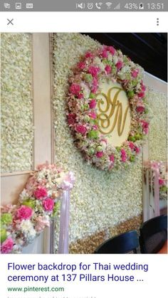 Flower backdrop for Thai wedding ceremony at 137 Pillars House, Chiang Mai. – The Best Ideas Vintage Wedding Backdrop, Wedding Hall Decorations, Wedding Reception Backdrop, Marriage Decoration, Engagement Decorations, Backdrop Decorations, Wedding Church, Backdrops, Church Decorations