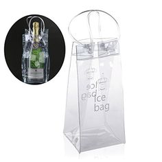 PVC Wine Beer Champagne Drink Cooler Chiller Drink Pouch Wine Bottle Ice Bag Bucket For Parties Random Color Practical Outdoor Pvc Transparent, Champagne Drinks, Ice Bag, Wine Chillers, Wine And Beer, Wine Cellar, Housekeeping, Water Bottle, Canning