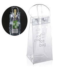NUOLUX Durable sac de glace vin de Champagne de PVC Transparent clair pochette sac isotherme avec poignée