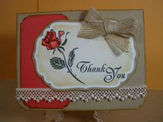Glittered Rose Thank You Card by TheCraftieOne on Etsy, $5.00