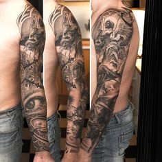 Full Sleeve Tattoos   InkDoneRight  Full sleeve tattoos are more eye-catching than their smaller counterparts! Full sleeve tattoos reach from the shoulder all the way down to the wrist, and...