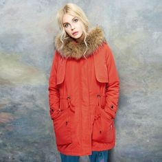 wool hoody, really red down coat ,fashion design
