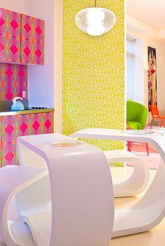 Chelsea Loft designed by Karim Rashid. THAT PINK WALLPAPER!