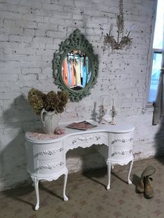Painted Cottage Prairie Shabby Chic Fancy Rococo French Mirror by paintedcottageprairi on Etsy