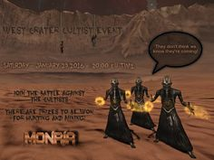 West Crater Cultist event This Saturday night 23rd-Jan-2016 at 20:00  MA time Big prizes to be won