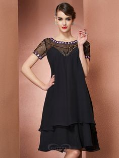 805b759f9e2f A-Line Princess Scoop Chiffon Short Sleeves Knee-Length Mother of the Bride  Dresses. SherriDress South Africa