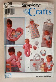 """Simplicity Crafts Pattern 8105 - Accessories for Baby Dolls In Three Sizes, Small (12""""-14""""), Medium (16""""-18""""), Large (20""""-22"""") by littlerosecreations on Etsy"""