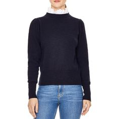 --evaChic--This Sandro Stevy Contrast Ruffle Collar Sweater is a cozy knitwear piece featuring a prairie-inspired detachable eyelet ruffle collar, ribbed knit, and gathered shoulders. The romantic style features delicate details and clean lines that add polished allure to all your winter wardrobe basics.    https://www.evachic.com/product/sandro-stevy-contrast-ruffle-collar-sweater/
