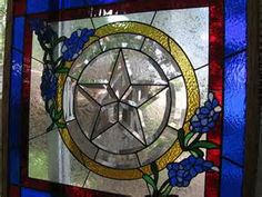Window Panel with beveled Texas Star and Bluebonnets Stained Glass Cabinets, Stained Glass Door, Stained Glass Projects, Stained Glass Patterns, Rustic Backyard, Texas Star, Blue Bonnets, Glass Blocks, Mosaic Glass