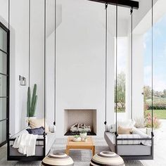 Here is some of my favorite inspiration for outdoor spaces with a modern farmhouse flair. Modern Farmhouse Back Porch - Black Hanging Swings - Modern Outdoor Fireplace - Black and White Back Porch - Home Decor - Home Design - DESIGN: Studio Life/Style Patio Interior, California Homes, California Room, California Style, Outdoor Rooms, Outdoor Swings, Outdoor Seating, Outdoor Areas, Modern Porch Swings