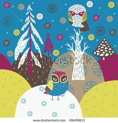 stock vector : Christmas forest