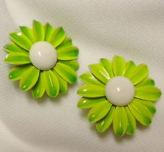 Lime Green Emmons Enamel Daisy Earrings by normajeanscloset,