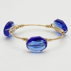 Blue Stone Station Wire Bangle Bracelet Gold Tone New Women Fashion Jewelry  #DazzledByJewels #Bangle #Women #Bracelet #Blue #Teen #Women #Gift