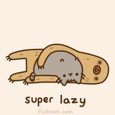 Super lazy Pusheen .gif