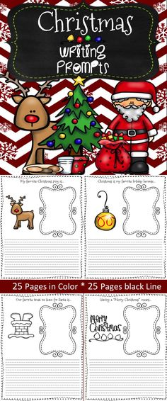 I love these writing prompts! Perfect writing prompts for the upcoming holidays. Use for writing centers, guided writing and bulletin board ideas! 25 Color and 25 Blackline.