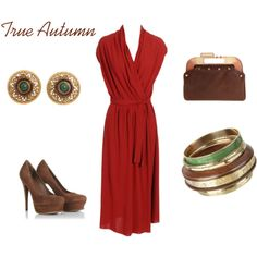 For MO // True Autumn // This red will be stunning on you, both in clothing and makeup. I like the shape of the dress for you, too. I'd amp up the drama of the earrings though.