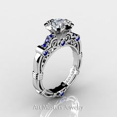 Art Masters Caravaggio 10K White Gold 1.0 Ct White and Blue Sapphire Engagement Ring R623-10KWGBSWS