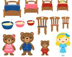 Goldilocks & The Three Bears Clipart and by pixelpaperprints Emotions Preschool, Bears Preschool, Body Preschool, Preschool Activities, Therapy Activities, Toddler Activities, Activities For Kids, Bear Clipart, Felt Board Stories