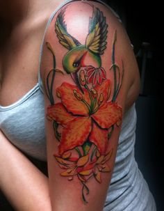 pictures of lilys for tattoo designs | Download Hummingbird lily flower tattoo sleeve