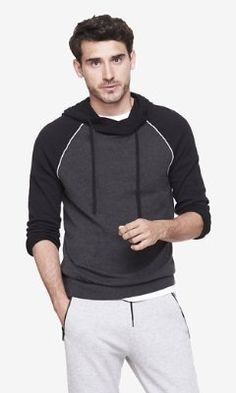 baseball crossover collar hooded sweater from EXPRESS