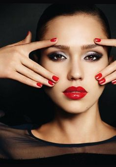 Jessica Alba • red lips • red nails • Love the make up