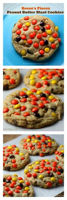 Reese's Pieces Peanut Butter Blast Cookies {Soft-Batch Style} via @https://www.pinterest.com/BaknChocolaTess/
