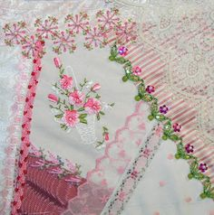 Cross Stitch Patterns by designer Pamela Kellogg Cross Stitch, Crazy Quilting and Embroidery Silk Ribbon Embroidery, Embroidery Stitches, Embroidery Patterns, Hand Embroidery, Quilt Patterns, Sewing Stitches, Crazy Quilt Stitches, Crazy Quilt Blocks, Crazy Quilting
