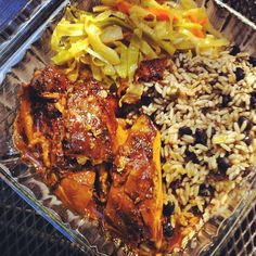 Delicious jerk chicken, cabbage, rice and peas. Photo by savorysweetlive ( Margaret Chen )